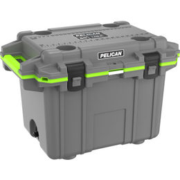 Pelican 50QT Elite Cooler - Dark Grey/Elec Grn